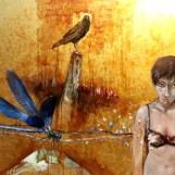 """SGS1"""" Metafor """" oil and gold leaf on canvas. 80 x 120 cm Boyutlarında, Yağlıboya ve Altın Varak malzeme ile karışık teknik.Tuval sırtı tercihe göre, pvc siyah,venge ya da altın sergi çerçevesi ile tamamlanır. 3000 TL."""