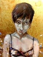 """Metafor – """"detail"""" ( Out of Fashion ) / Soner Göksay / 80 x 120 cm / Oil Color and gold leaf / 2013"""